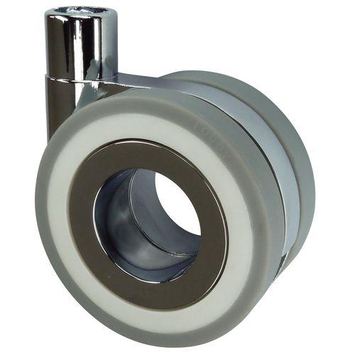 Thread Fixing Twinwheel Swivel Furniture Castor 75mm Grey Tyred Wheel 50Kg Load Capacity