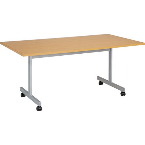One Eighty Rectangular Flip Top Table Nova Oak HxWxD mm: 720x1400x800 Silver Frame