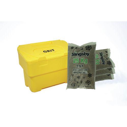 115L Yellow Grit Bin + 4 Bags 25Kg Brown Rock Salt