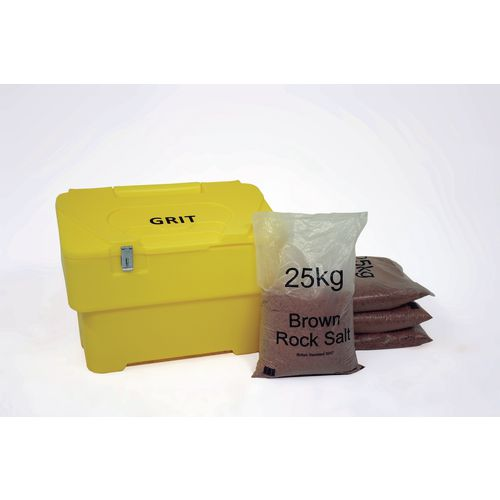 115L Yellow Grit Bin With Hasp And Staple + 4 Bags 25Kg Brown Rock Salt
