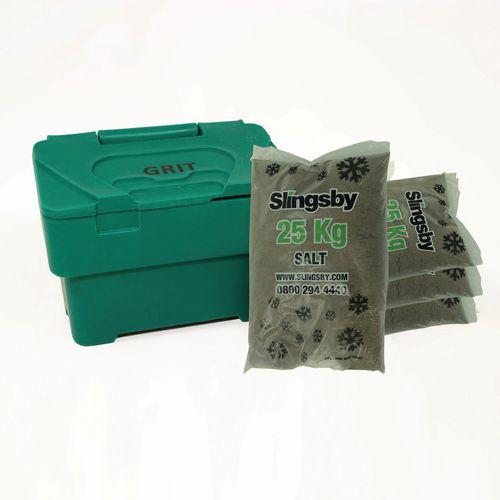 115L Green Grit Bin + 4 Bags 25Kg Brown Rock Salt