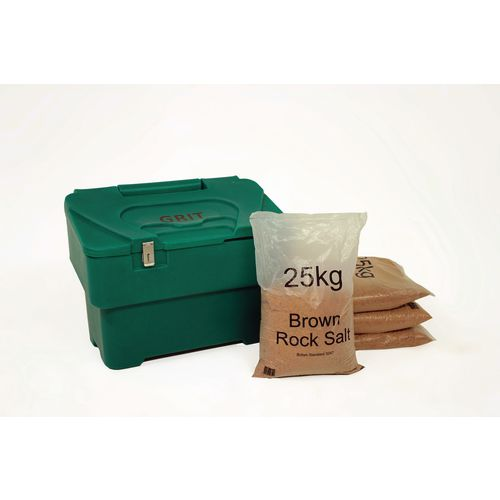 115L Green Grit Bin With Hasp And Staple + 4 Bags 25Kg Brown Rock Salt
