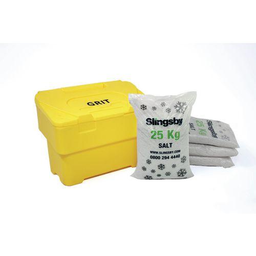115L Yellow Grit Bin + 4 Bags 25Kg White De-Icing Salt