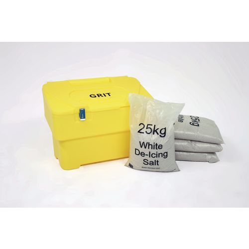 115L Yellow Grit Bin With Hasp And Staple + 4 Bags 25Kg White De-Icing Salt