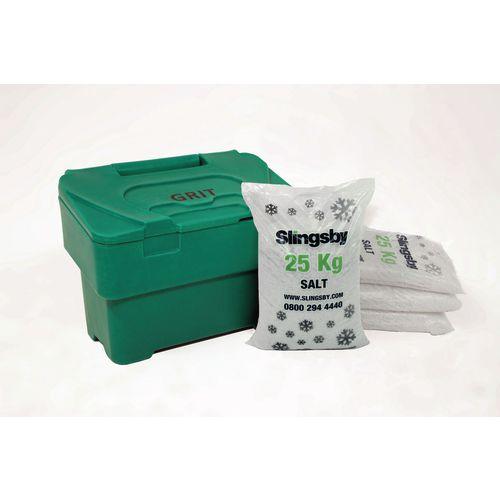 115L Green Grit Bin + 7 Bags 25Kg White De-Icing Salt