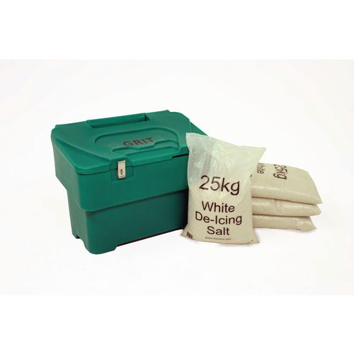 115L Green Grit Bin With Hasp And Staple + 4 Bags 25Kg White De-Icing Salt