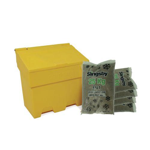 170L Stackable Yellow Salt And Grit Bin + 6 Bags 25Kg Brown Rock Salt