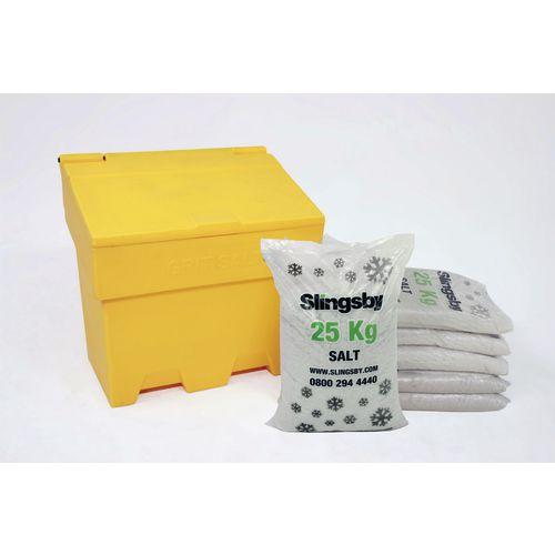 170L Stackable Yellow Salt And Grit Bin + 6 Bags 25Kg White De-Icing Salt