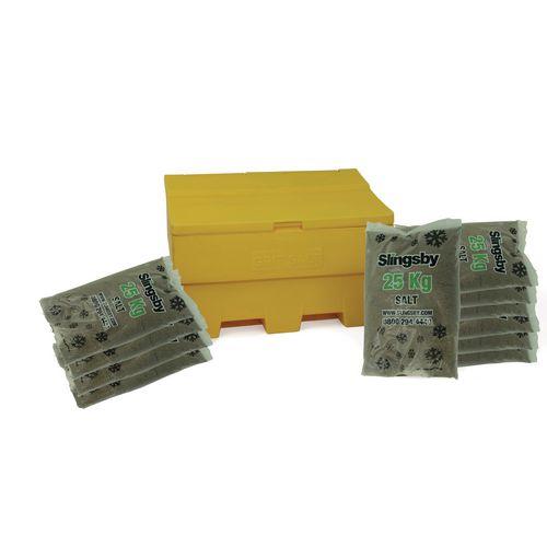 285L Stackable Yellow Salt And Grit Bin + 11 Bags 25Kg Brown Rock Salt