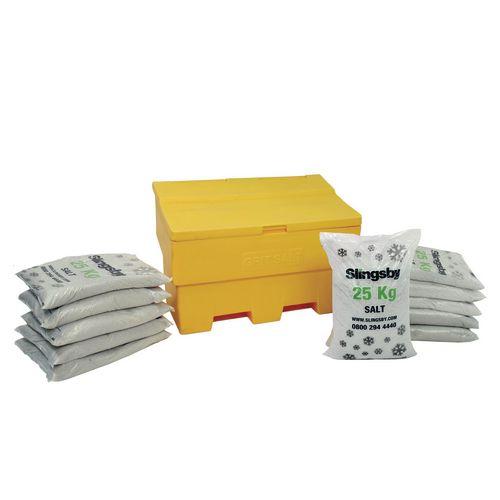 285L Stackable Yellow Salt And Grit Bin + 11 Bags 25Kg White De-Icing Salt