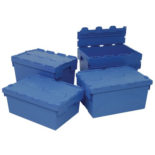 70L Attached Lid Container Blue