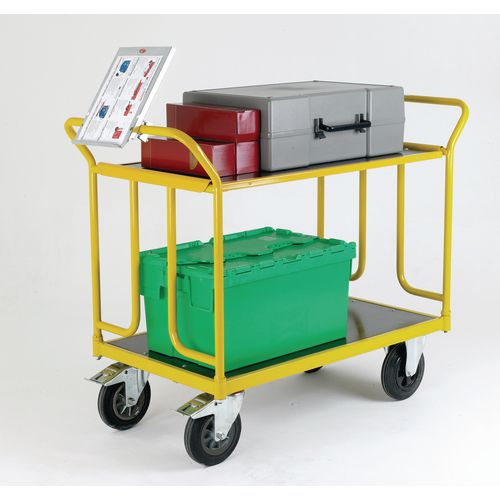 Large Capacity Platform Shelf Trolley 750mm Long And Rubber Tyred Wheels