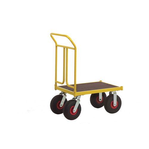 Platform Truck 750mm Long With One End On Pnuematic Tyres