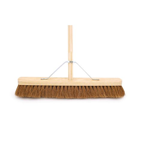 "24"" Soft Coco Broom Complete With 4'6"" Wooden Handle &Metal Support Stay"