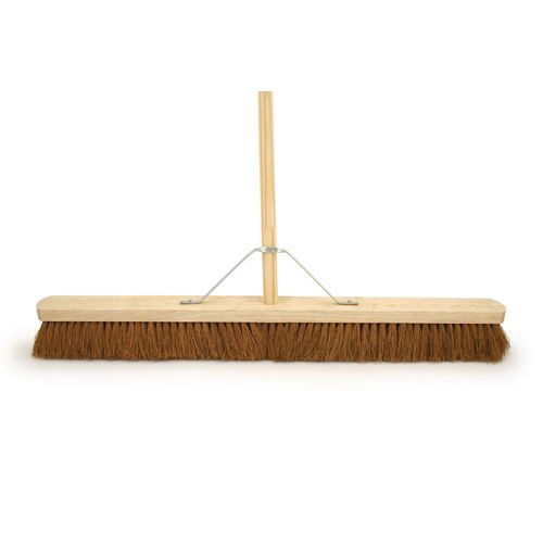 "36"" Soft Coco Broom Complete With 4'6"" Wooden Handle &Metal Support Stay"