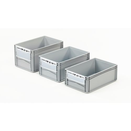 Basicline 600X400X270mm Open End Euro Container With Door