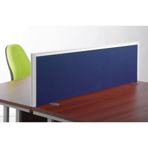 1200mm Straight Fabric Screen In Blue With Silver Frame