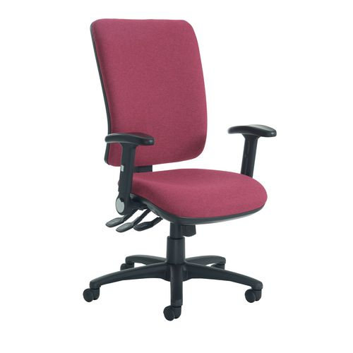 Senza High Back Operator Chair With Folding Arms In Wine Independent Seat Tilt Adjustment Back Height