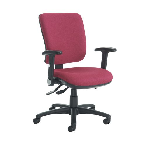 Senza High Back Operator Chair With Folding Arms In Red Independent Seat Tilt Adjustment Back Height A