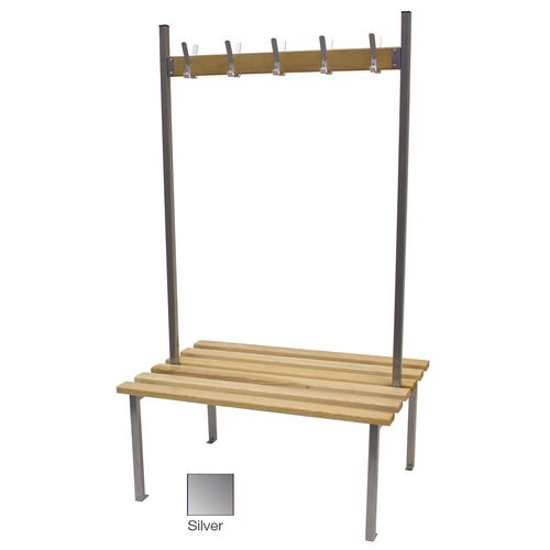 Classic Duo Bench 3000x745mm 30 Hooks 4 Uprights Silver
