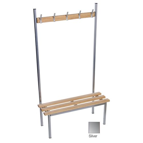 Evolve Solo Bench 1500x400mm 7 Hooks 2 Uprights Silver