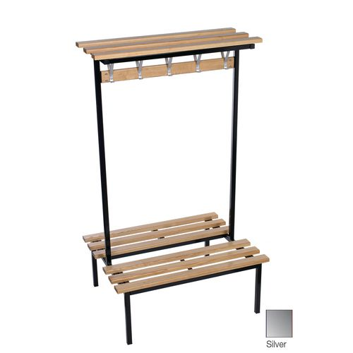 Evolve Duo Bench With Wood Top Shelf 2000x800mm 20 Hooks 2 Uprights Silver