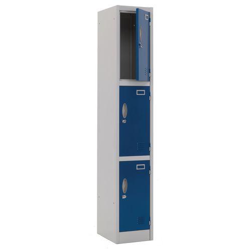 Atlas Metal Locker 1800x450x450 3 Door Blue Door Key Lock
