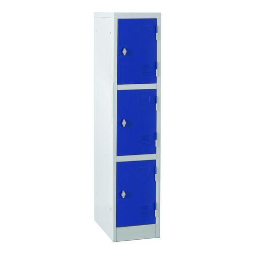 Atlas Ks2/3 3 Door Locker 1372mm Hx300mm Wx450mm D Key Lock Blue