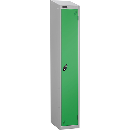 Colour Door Locker With Sloping Top 1 Door Depth 305mm Silver Body &Green Door