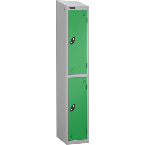 Colour Door Locker With Sloping Top 2 Door Depth 305mm Silver Body &Green Door