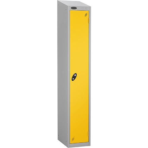 Colour Door Locker With Sloping Top 1 Door Depth 305mm Silver Body &Yellow Door