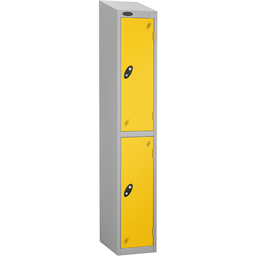 Colour Door Locker With Sloping Top 2 Door Depth 305mm Silver Body &Yellow Door