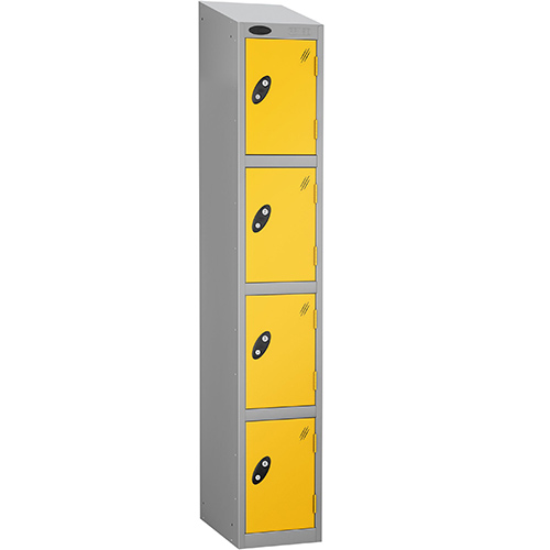 Colour Door Locker With Sloping Top 4 Door Depth 305mm Silver Body &Yellow Door