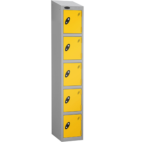 Colour Door Locker With Sloping Top 5 Door Depth 305mm Silver Body &Yellow Door