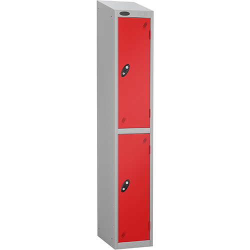 Colour Door Locker With Sloping Top 2 Door Depth 305mm Silver Body &Red Door