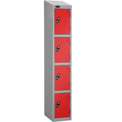 Colour Door Locker With Sloping Top 4 Door Depth 305mm Silver Body &Red Door