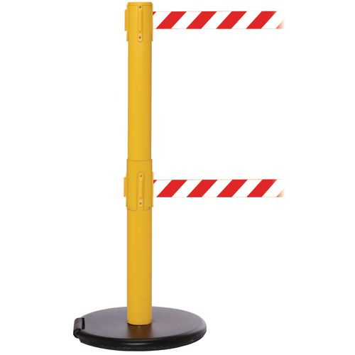 Rollersafety 250 Twin Yellow Post 3.4M Red/White Diagonal Belt