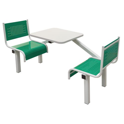 Spectrum Canteen Bench 2 Seater Single Entry Light Grey Frame &Green Seats - Robust, fully welded canteen unit. Manufactured from 1.2mm mild steel. Light grey MFC table top with PVC edging for additional strength and protection.