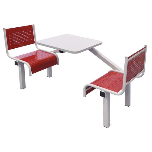 Spectrum Canteen Bench 2 Seater Single Entry Light Grey Frame &Red Seats - Robust, fully welded canteen unit. Manufactured from 1.2mm mild steel. Light grey MFC table top with PVC edging for additional strength and protection.