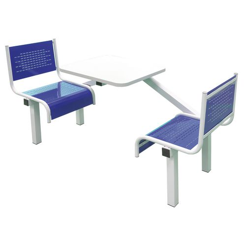 Spectrum Canteen Bench 2 Seater Single Entry Light Grey Frame &Blue Seats - Robust, fully welded canteen unit. Manufactured from 1.2mm mild steel. Light grey MFC table top with PVC edging for additional strength and protection.