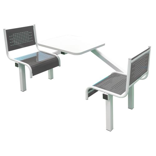 Spectrum Canteen Bench 2 Seater Single Entry Light Grey Frame &Dark Grey Seats - Robust, fully welded canteen unit. Manufactured from 1.2mm mild steel. Light grey MFC table top with PVC edging for additional strength and protection.