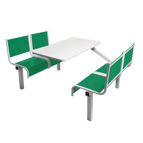 Spectrum Canteen Bench 4 Seater Single Entry Light Grey Frame &Green Seats - Robust, fully welded canteen unit. Manufactured from 1.2mm mild steel. Light grey MFC table top with PVC edging for additional strength and protection.