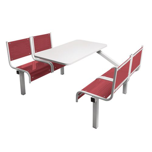 Spectrum Canteen Bench 4 Seater Single Entry Light Grey Frame &Red Seats - Robust, fully welded canteen unit. Manufactured from 1.2mm mild steel. Light grey MFC table top with PVC edging for additional strength and protection.