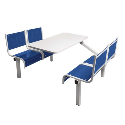 Spectrum Canteen Bench 4 Seater Single Entry Light Grey Frame &Blue Seats - Robust, fully welded canteen unit. Manufactured from 1.2mm mild steel. Light grey MFC table top with PVC edging for additional strength and protection.