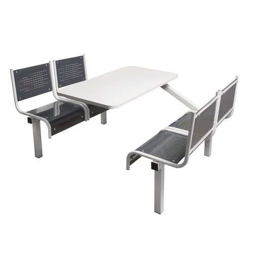 Spectrum Canteen Bench 4 Seater Single Entry Light Grey Frame &Dark Grey Seats - Robust, fully welded canteen unit. Manufactured from 1.2mm mild steel. Light grey MFC table top with PVC edging for additional strength and protection.