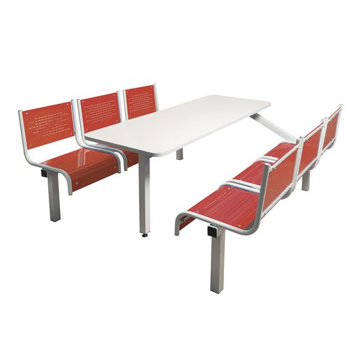 Spectrum Canteen Bench 6 Seater Single Entry Light Grey Frame &Red Seats - Robust, fully welded canteen unit. Manufactured from 1.2mm mild steel. Light grey MFC table top with PVC edging for additional strength and protection.