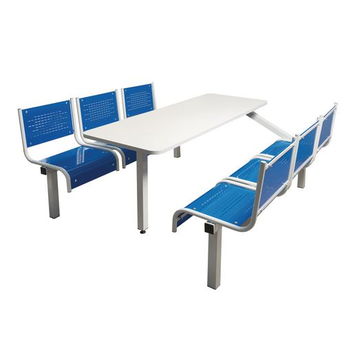 Spectrum Canteen Bench 6 Seater Single Entry Light Grey Frame &Blue Seats - Robust, fully welded canteen unit. Manufactured from 1.2mm mild steel. Light grey MFC table top with PVC edging for additional strength and protection.