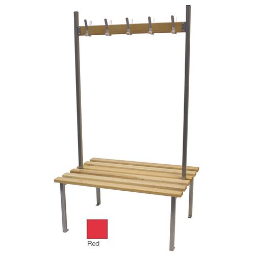 Classic Duo Bench 3000x745mm 30 Hooks 4 Uprights Red