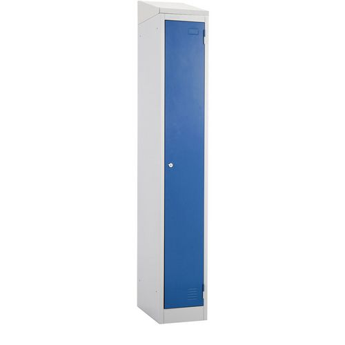 Atlas Metal Locker 1800x450x450 Single Sloping Top Key Lock Blue Door
