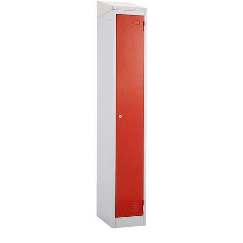 Atlas Metal Locker 1800x450x450 Single Sloping Top Key Lock Red Door